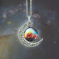 Crescent Necklace Starry Moon Outer Space Chain Silver Gemst...