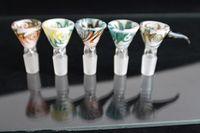 Красочные стекла Чаша Кусочки для Bongs Женщины Мужчины 14мм 18мм с расческой экрана Круглые стекла поилки для нефтяных вышек стеклянные бонги золоуловителя