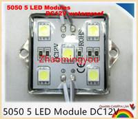 5050 5 из светодиодов модуль DC12V освещение водонепроницаемый четырехугольный утюг оболочки светодиодные модули,белый красный зеленый синий цвет,500ПК/лот
