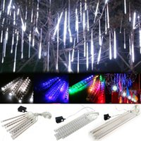 Umlight1688 20cm 30cm 50cm meteor yağmuru Yağmur Tüpler LED Işık Noel Düğün Bahçe Dekor AB ABD Beyaz Mavi RGB