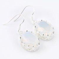 Luckyshine nueva llegada pendientes ovales 925 blanca Moonstone gemas Año Nuevo regalo de las mujeres retro del gancho del envío libre cuelga los pendientes