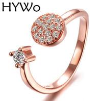HYWo doppio colore stile Wedding Classic Ring per le donne Rose Gold Plate forma rotonda Zircone Stone Ring per anello elemento pandora spedizione gratuita