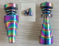 Rainbowl colorido anodizado 6 em 1 titanium unhas domeless gr 2 colorido titanium prego 10mm14mm19mm com macho e fêmea conjunta