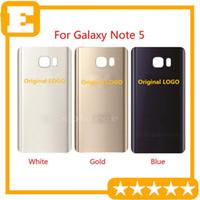 Pil Kapı Arka Kapak Cam Konut + Yapıştırıcı Sticker için Samsung Galaxy Note 5 N9200 N920V N920F VS N920T N920P N920 20pcs / Lot