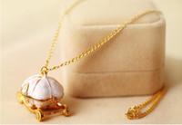 Vintage Magic Golden Pumpkin Carriage Pendentif Collier De Mode Douce Chaîne Colliers Femmes Partie Bijoux Livraison Gratuite