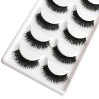 Pestañas postizas falsas 1 caja 5 pares de puntas negras gruesas puntas de maquillaje Maquillaje ahumado natural Pestañas falsas largas