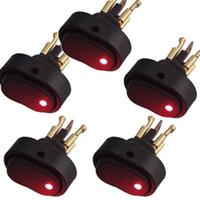 5Pcs 자동 로커 스위치 12V 30A 켜기 끄기 파란색 빨간색 LED 빛 SPST 토글 스위치 ON-OFF 자동차 보트 유니버설