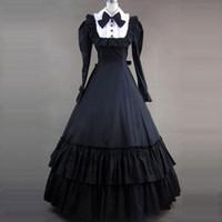 Mittelalterliche Retro Black Gothic Victorian Party Kleid Baumwolle Rüschen Bogen Marie Antoinette Maskerade Kleider Kugelkleider für Frauen