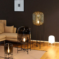 L14- Nordic Style Glass Floor Lamp Retro Melon Floor Lights F...