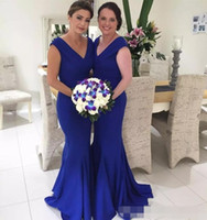Royal Blue Mermaid Long Bridesmaid Dresses 2021 Cheap V Neck Floor Length Wedding Guests Party Wear Garden Beach Maid of Honor Gowns