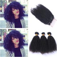 버진 페루어 곱슬 곱슬 인간의 머리카락 3Bundles 4x4 레이스 클로저 4PCS 로트 아프리카의 곱슬 머리 곱슬 머리 맨 위 클로져로 짜다