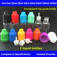 전자 담배 액체 병 3ml5ml10ml15ml20ml30ml50ml100ml120ml 플라스틱 dropper 병 with Childproof 모자 E-cig 빈 주스 병