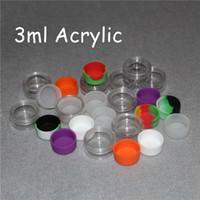 MOQ 20 pcs Acrílico silicone recipiente de cera jarro de silicone 3 ml recipiente de cera dab bho plástico transparente acrílico frascos de silicone