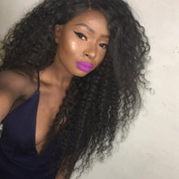 Glueless Kinky Curly Human Hair Wig With Natural Hairlines 1...