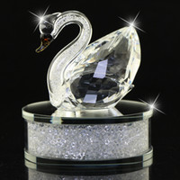 Bright Clear Champagne Glass Crystal Swan Figurines filled w...