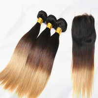 Ombre Hair Extensions With Top Lace Closure Silk Straight 4Pcs Lot, 1pc Closure With 3pcs Two Tone Human Hair Bundles # 1B / 4/27