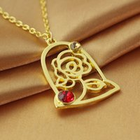 Beauty And The Beast Necklaces Children Cartoon Gold Pendant...