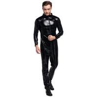 Sıcak Cosplay Clubwear Biker Kıyafet PU Deri Artı Boyutu Bodysuit Seksi Set erkek Deri Koşum Eşcinsel Üniforma Cadılar Bayramı Kostümleri Cosplay