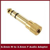 """Spedizione gratuita 6.5mm 1/4 """"Maschio a 3.5mm Femmina Audio adattatore jack Stereo / Cavo convertitore per microfono oro 10Qtà"""