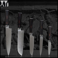 "XYJ damasco facas 8 ""chef 7"" santoku 5 ""utilitário santoku 3.5"" faca VG10 núcleo 71 camadas de aço damasco faca de cozinha conjunto"