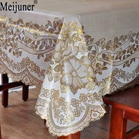 Meijuner New Fashion Hot Sale High-grade bronzing European plastic tablecloth pvc Waterproof anti-corrosion anti-oil table cloth
