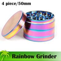 Qualidade superior Rainbow Grinders 4 Peça Grinder 40mm 50mm 55mm Grinder Triturador De Erva De Tempero De Zinco Liga de Zinco Material Com Tampa Superior Magnética