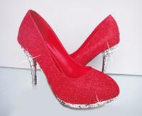 Блеск свадебная обувь свадебный вечер партии Кристалл Красное дно высокие каблуки Женская обувь сексуальные женские насосы свадебные туфли