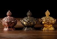 Neu Kommen 7 cm Höhe Tibetischen Lotus Weihrauch Brenner Legierung Bronze Mini Weihrauch Brenner Metall Handwerk Wohnkultur 3 Farben