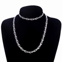 Men Chain Link Stainless Steel Jewelry Sets Fashion Silver&G...