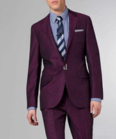 New Men Suit Custom made new purple Suit Trajes de boda de lana con dos botones para novio traje de esmoquin para hombre Business Tuxedos (Jacket + Pant)