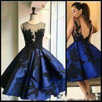 2017 Elegante Elegante Royal Blue Short Homecoming Dresses Sheer Neck Applique Pizzo Ginocchio D'appoggio Backless Abiti da ballo PROM Party cocktail Wear