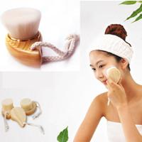 Reinigende Gesichtsreinigung Weiche Mild Fiber Wash Wash Pore Gesichtspflegebürste Holz Hot # R671