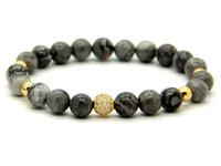 1 pz gioielli di alta qualità 8mm grigio immagine jasper pietra perline micro pavimenta nero e oro cz perline bracciali regalo uomo