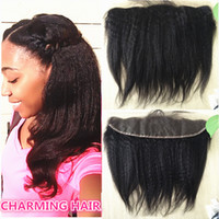 KINKY STRAIGHT Brazilian Lace Frontal Closure Coarse yaki Fu...