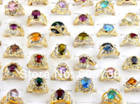 Wholesale- jewelry 18K gold plated cz rings mulcticolor cryst...