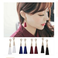 Thread Long Tassel Earrings Rhinestone pearl Statement Fring...