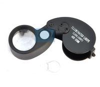 접는 40X 25 미리 메터 안경 돋보기 보석 시계 소형 루파 Led 라이트 램프 돋보기 현미경 루파 드 뒤 멘토 루페