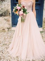 2017 A- line Blush Pink Wedding Dresses Sweetheart Tulle Appl...