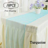 무료 배송 10 Organza 테이블 러너 골드 자주색 크리스탈 organza 패브릭 30X275cm 이벤트 파티 용품 결혼식에서 현대 테이블 러너