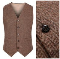 2017 New Farm Wedding Brown Wool Herringbone Tweed Vests Cus...