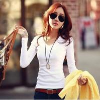 Koreli kadınlar katı renk İnce uzun kollu T gömlek dip gömlek yuvarlak boyun V boyun kadın bluzlar Casual Artı Boyutu Bluzlar tops