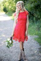 Rouge court complet dentelle robes de soirée Bridemaid 2017