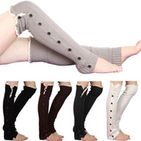 Toptan-Kadın Tığ Örme Bacak Isıtıcıları Düğme Dantel Trim uzun Boot Çorap 8ZQN