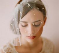Vintage casamento nupcial branco birdcage véu blusher net véu véu uma camada acessórios de cabelo pente headpieces jóias pérola véu de pérola