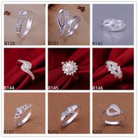 Anello da donna in argento sterling placcato con pietre preziose da 10 pezzi stile EMR15 molto misto, anello piatto in argento 925 di alta qualità di vendita calda