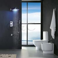 황동 10 인치 수력 LED 샤워 헤드와 오르네, 솔리드 브래스 경감 님이 크롬 서모 LED 강우량 샤워 세트 003-10-2C