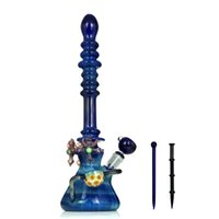 """16,5 """"bongos de vidro de luxo feitos à mão canos de água coloridos dab plataformas de petróleo bongos 18mm conjunta feminina com tigela e unhas"""