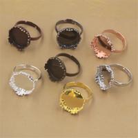 BoYuTe 20Pcs el 15MM Cabochon Base anillo de ajuste 7 colores plateó el anillo ajustable tapas del panel de la bandeja de DIY que hace joyería