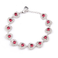 Copper Rhodium Plated Bracelets Promotion Red Cubic Zirconia...