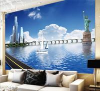 Paisaje de la ciudad Playa Mar Azul Cielo Nube de fotos papel pintado para paredes 3 d Papeles pared de la sala Sofá contexto de la pared Murales personalizados
